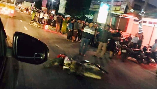 Hiện trường vụ tai nạn khiến một thiếu úy tử vong, một người khác bị thương nặng khi đang trên đường đi nhận công tác.