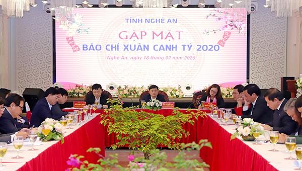 Toàn cảnh buổi gặp mặt báo chí đầu Xuân Canh Tý 2020 của tỉnh Nghệ An.