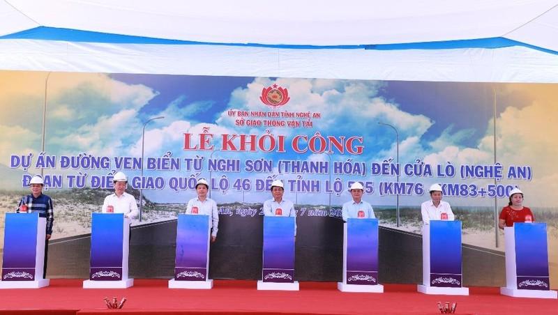 Lễ khởi công Dự án Đường ven biển từ Nghi Sơn (Thanh Hóa) đến Cửa Lò (Nghệ An) – đoạn từ điểm giao Quốc lộ 46 đến Tỉnh lộ 535.