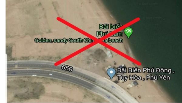 Google Maps ghi sai thông tin về bãi biển của TP. Tuy Hòa. Ảnh chụp lại màn hình lúc 19h tối 18/4.