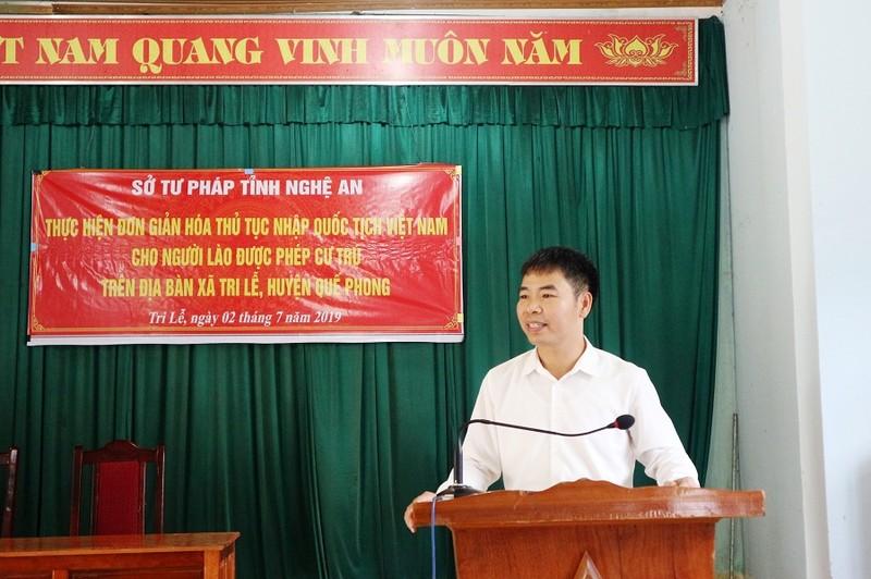 Phó Giám đốc Sở Tư pháp Nghệ An Nguyễn Công Hoan phát biểu tại buổi làm việc.