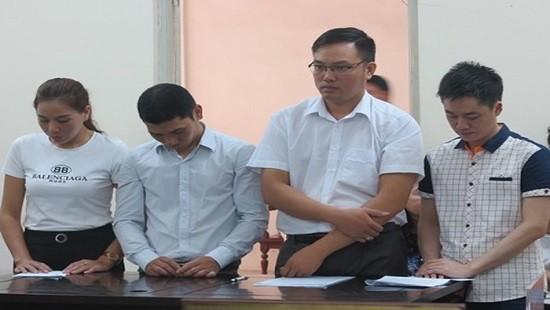 Bị cáo Trịnh, Tâm và đồng bọn tại phiên tòa sơ thẩm.