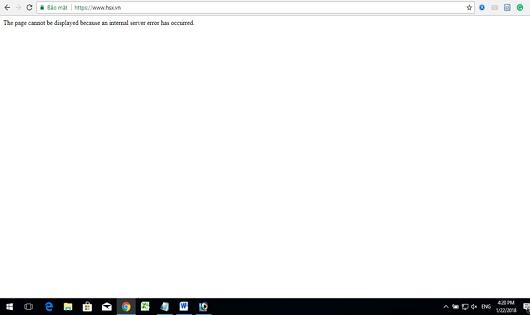 Trang web của HOSE trắng trơn (ảnh chụp màn hình)