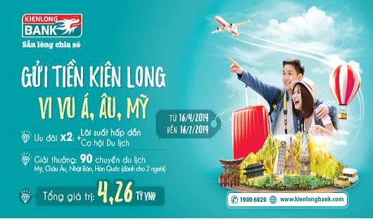90 giải thưởng du lịch Mỹ, Châu Âu, Châu Á trị giá 4,26 tỷ đồng cho khách hàng gửi tiết tiệm tại Kienlongbank
