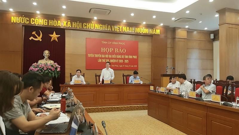 Phó Bí thư Tỉnh ủy Vĩnh Phúc Lê Duy Thành chủ trì cuộc họp báo giới thiệu Đại hội đại biểu Đảng bộ tỉnh Vĩnh Phúc.