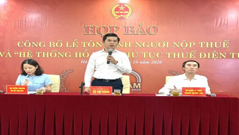 Phó Tổng cục trưởng Tổng cục Thuế Vũ Chí Hùng chủ trì cuộc họp báo.