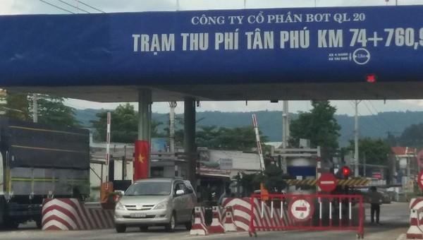 Tạm dừng thu phí tại Trạm thu phí Tân Phú từ 14h ngày 20/10