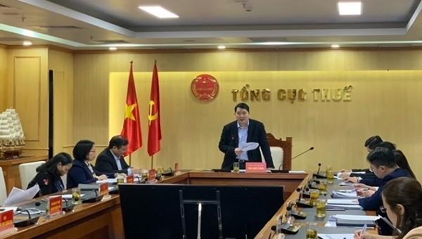 Tổng cục trưởng Tổng cục Thuế Cao Anh Tuấn chủ trì cuộc họp giao ban.