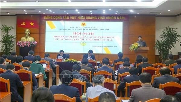 Hội nghị Sơ kết 2 năm thực hiện các đề án, thí điểm xây dựng huyện NTM kiểu mẫu và định hướng xây dựng huyện NTM kiểu mẫu giai đoạnh 2021- 2025 (ảnh TTXVN).