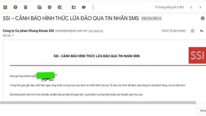 Công ty chứng khoán SSI cảnh báo tin nhắn lừa đảo