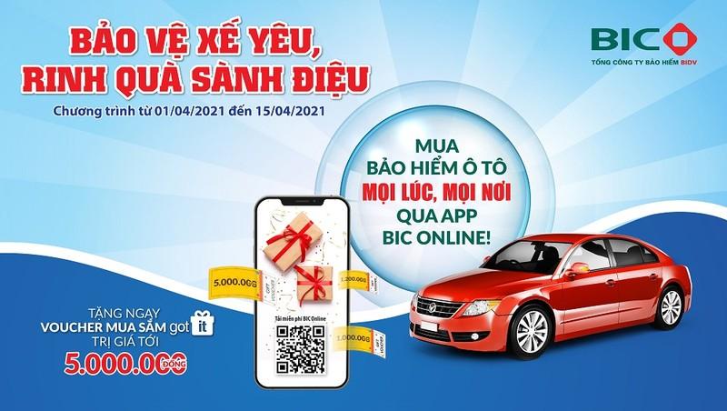 Tặng quà tới 5 triệu đồng khi mua bảo hiểm vật chất ô tô qua ứng dụng BIC Online