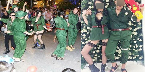 Hình ảnh lố lăng, phản cảm trên phố đi bộ Nguyễn Huệ này xuất hiện đầy các trang mạng. (Ảnh lấy từ internet)