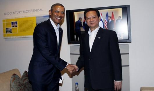 Thủ tướng Nguyễn Tấn Dũng hội kiến Tổng thống Obama. Ảnh: TTXVN.