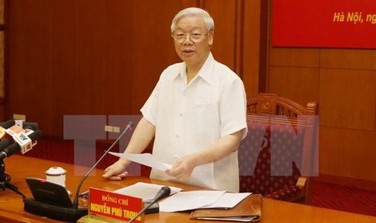Tổng Bí thư Nguyễn Phú Trọng phát biểu tại Phiên họp thứ 10 của Ban chỉ đạo. Ảnh: TTX