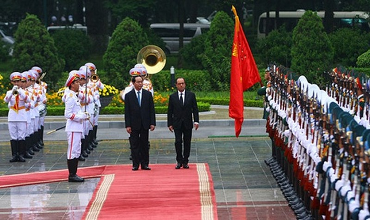 Cận cảnh lễ đón Tổng thống Pháp tại Phủ Chủ tịch