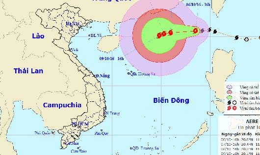 Vị trí và đường đi của bão số 6 lúc 16h hôm nay, 6/10. Ảnh từ TTDBKTTVTƯ.