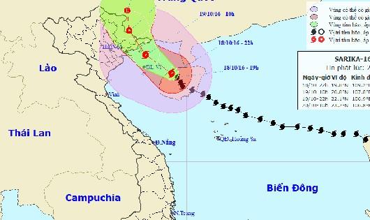 Vị trí và đường đi bão số 7 - Sarika lúc 22h hôm nay, 18/10.