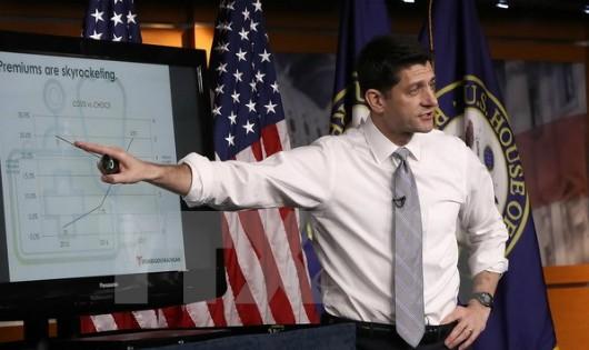 Chủ tịch Hạ viện Mỹ Paul Ryan trình bày kế hoạch thay thế luật Obamacare bằng dự thảo Luật AHCA tại Washington, DC., ngày 9/3. (Nguồn: AFP/TTXVN)