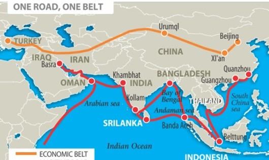 Sơ đồ dự án Một vành đai-Một con đường của Trung Quốc. Ảnh VOV/Wiki