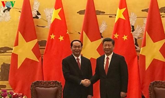 Tổng Bí thư, Chủ tịch Trung Quốc Tập Cận Bình và Chủ tịch nước Trần Đại Quang. Ảnh VOV