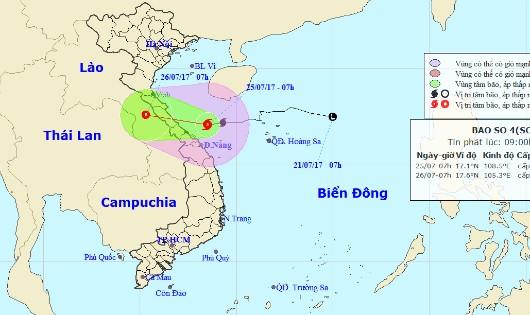 Chiều nay, bão số 4 ảnh hưởng trực tiếp Hà Tĩnh - Quảng Trị