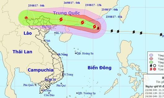 Bão giật cấp 15 hoành hành trên biển, nhiều vùng giáp Trung Quốc sắp mưa như trút