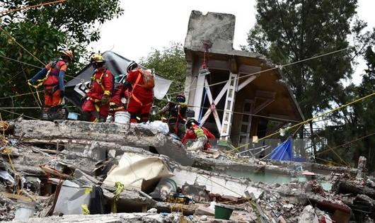 Lực lượng cứu hộ tìm kiếm nạn nhân sống sót trong đống đổ nát do động đất ở Mexico City. (Nguồn: AFP/TTXVN)