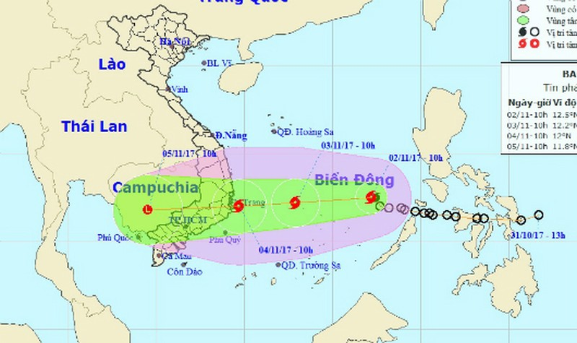 Bão giật cấp 14 hướng vào các tỉnh Bình Định - Bình Thuận