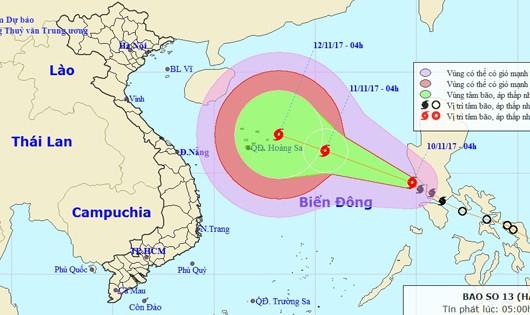 Bão số 13 đang hoành hành biển Đông, tâm lại hướng vào miền Trung