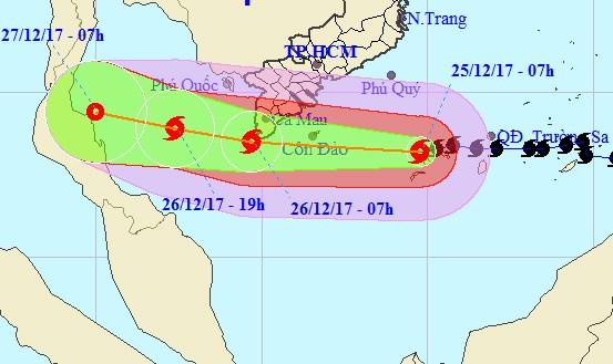 Bão giật cấp 13 tâm hướng Côn Đảo - Mũi Cà Mau, Nam bộ mưa to