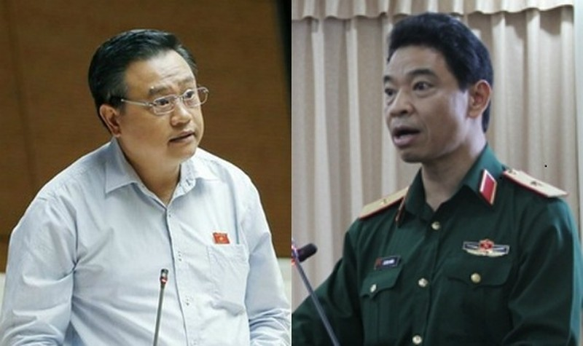 Thiếu tướng Lê Xuân Trường (bên phải) và ông Trần Sỹ Thanh (bên trái)