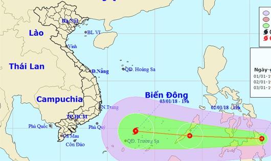 Xuất hiện áp thấp nhiệt đới mạnh gần biển Đông