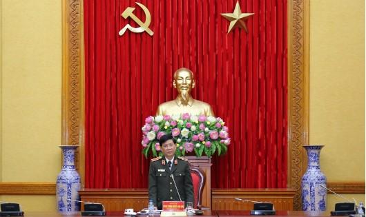 Thứ trưởng Nguyễn Văn Sơn phát biểu tại cuộc họp. Ảnh: Cổng thông tin điện tử Bộ Công an.