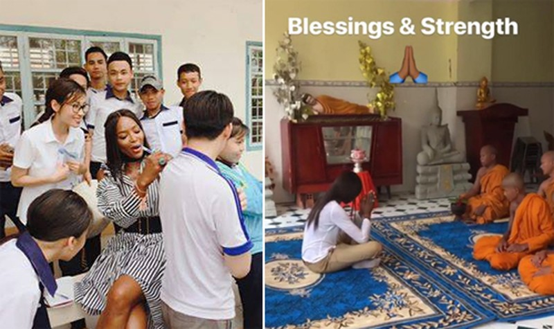 Naomi Campbell thăm trường học ở Cần Thơ và chùa chiền. Ảnh: Fanpage Naomi Campbell.