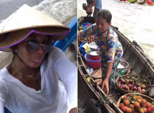 Naomi Campbell khám phá chợ nổi.