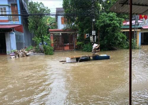 TP Hà Giang ngập do nhiều thuỷ điện xả lũ. Ảnh: Hoàng Thành.