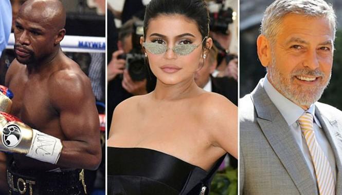 Top 3 người nổi tiếng thu nhập hàng đầu thế giới năm qua: võ sĩ Floyd Mayweather, Kylie Jenner và George Clooney /// Ảnh: TNI