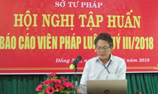 Ông Ngô Văn Toàn – Phó Giám đốc sở Tư pháp phát biểu khai mạc hội nghị