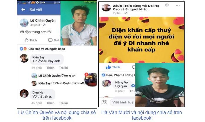 Lữ Chính Quyền  và Hà Văn Mười tung tin thất thiệt lên mạng xã hội. Ảnh: Công an Thanh Hóa.
