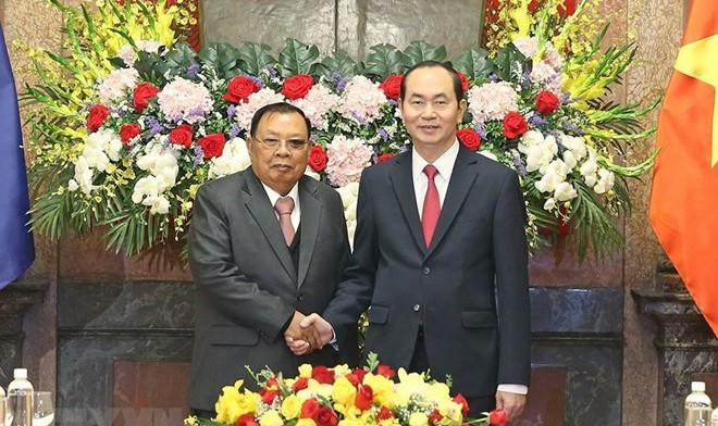 Chủ tịch nước Việt Nam Trần Đại Quang hội kiến Tổng Bí thư, Chủ tịch nước Lào Bounnhang Vorachith thăm hữu nghị chính thức Việt Nam tháng 12/2017. (Ảnh: Nhan Sáng/TTXVN)