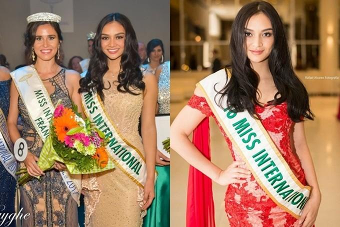 Miss International 2016 - Kylie Verzosa cũng hiếm khi được đội vương miện dù cô sang Pháp (trái) và Paraguay (phải) trao giải cho Hoa hậu nước bạn.