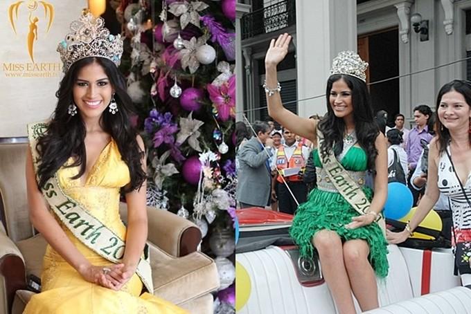 Trước đây, các hoa hậu đương nhiệm được sự dụng một vương miện phiên bản cho một số hoạt động. Trong ảnh là Hoa hậu năm 2011 người Ecuador đội hai vương miện khác nhau.