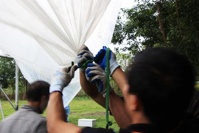 Đơn vị lắp đặt phải chăng tấm nilong lớn để che chắn mưa.