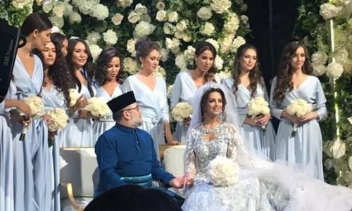 Hình ảnh được cho là hôn lễ của Quốc vương Muhammad V với người đẹp Nga tháng 11/2018. Ảnh: Instagram.