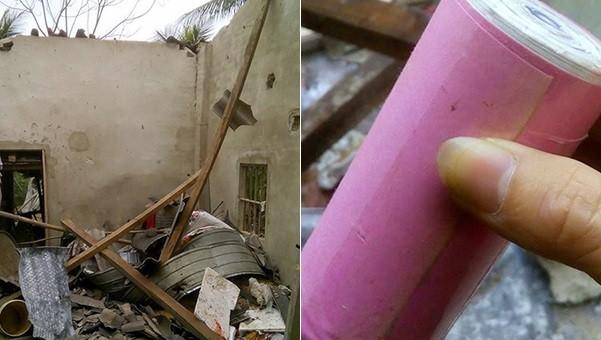 Hiện trường và quả pháo thu được tại vụ nổ ở Hà Tĩnh.