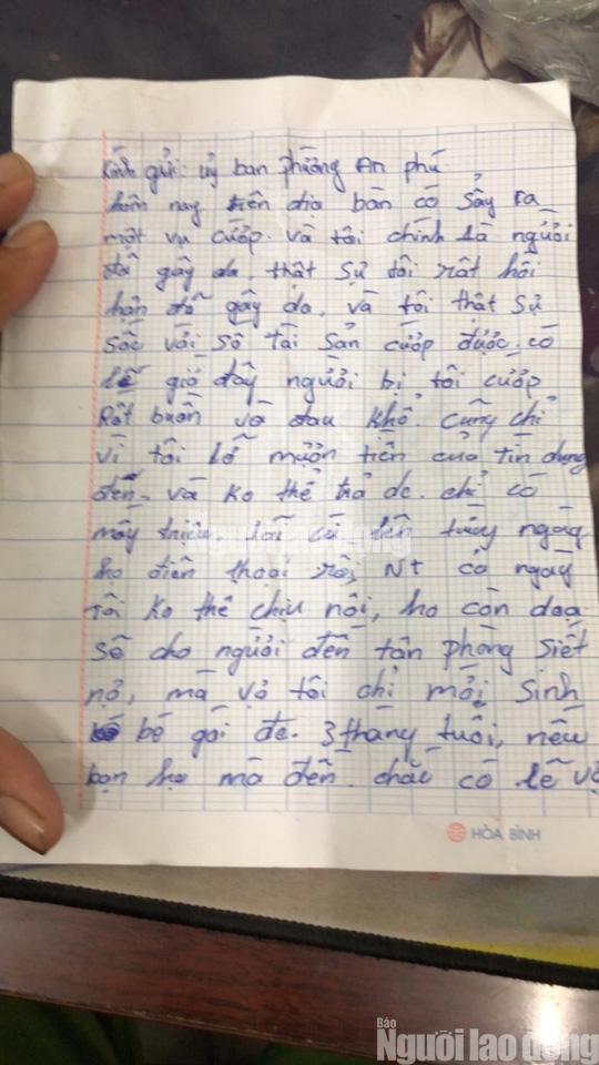 Tên cướp bí ẩn gửi trả 100 triệu đồng cùng thư xin lỗi - Ảnh 2.