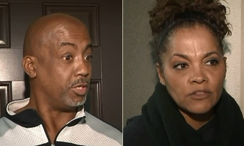 James Robinson (trái) và vợ Olivia, phát hiện hai đứa trẻ bất thường trong nhà hàng xóm. Ảnh: KTLA.