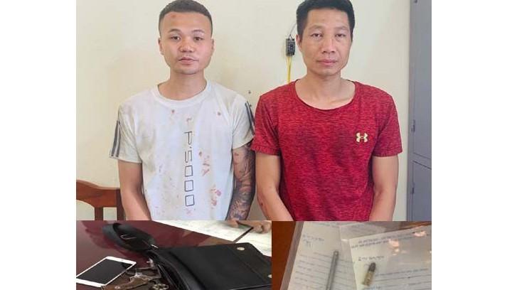 Nguyễn Đoan Út (áo trắng) và Lê Ngọc Trang. Ảnh: Công an tỉnh Thanh Hóa.