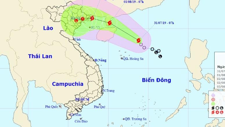 Bão gần bờ, tâm hướng về đất liền Quảng Ninh - Nam Định