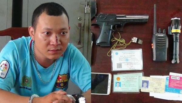 Huỳnh Tấn Phát và tang vật. Ảnh: Công an tỉnh Bình Phước.